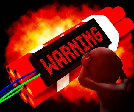 notifying: Warning Dynamite Sign Means Caution Or Danger 3d Rendering Stock Photo