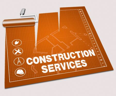 residential homes: Construction Services Paint Roller Shows Building Service 3d Illustration