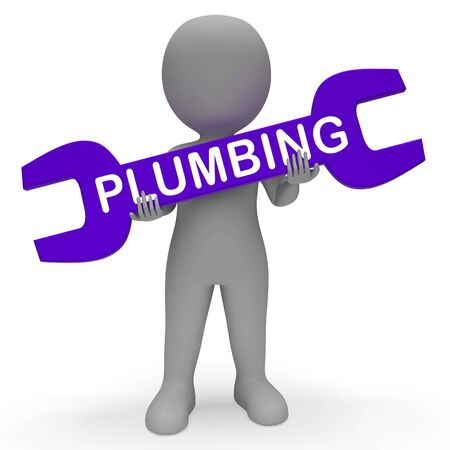 plumb: Plumbing Character with Spanner Shows Pipe Fitting 3d Rendering Stock Photo