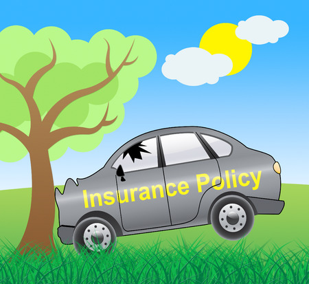 insure: Auto Insurance Crash Policy Vehicle Policies 3d Illustration Stock Photo