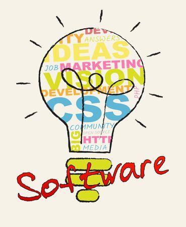 shareware: Software Lightbulb Words Represents Browsing Programs 3d Illustration