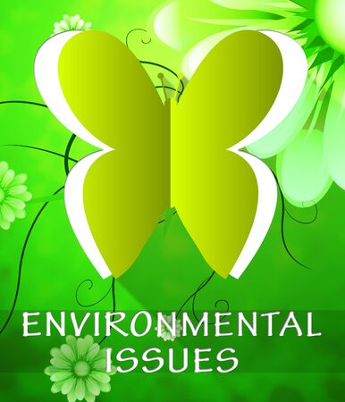 environment issues: Environment Issues Butterfly Cutout Shows Nature 3d Illustration Stock Photo