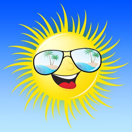 Summer Sun With Glasses Smiling Shows Heat 3d Illustration