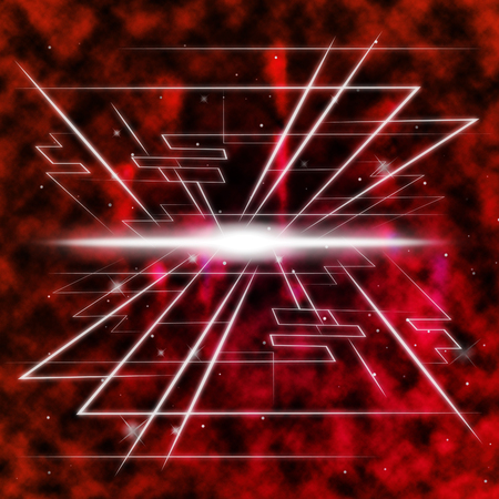 ablaze: Red Brightness Background Shows Piercing Light And Rectangles Stock Photo