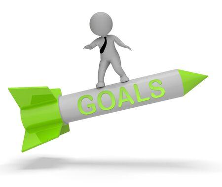 aspirational: Goals Character On Rocket Indicates Aspiration Desires 3d Rendering