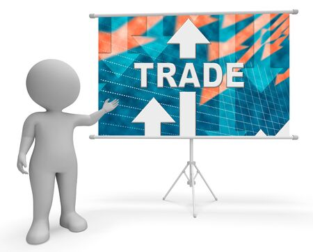 Trade Graph Character Meaning Selling Business And Ecommerce 3d Rendering Stock Photo
