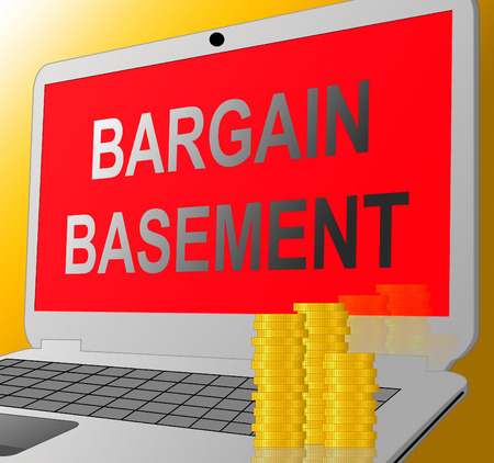 Bargain Basement Laptop Message Showing Retail Reduction And Clearance