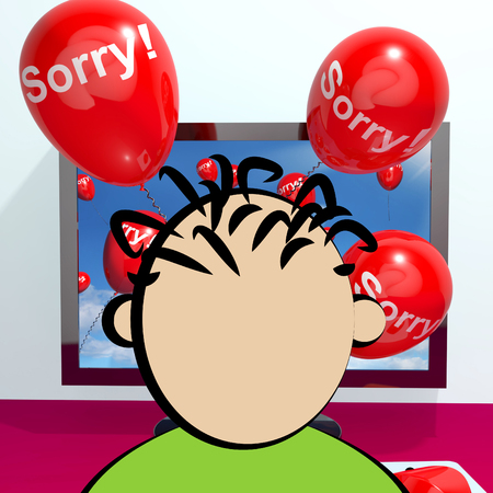 remorse: Sorry Balloons From Computer Shows Online Apology Regret 3d Rendering