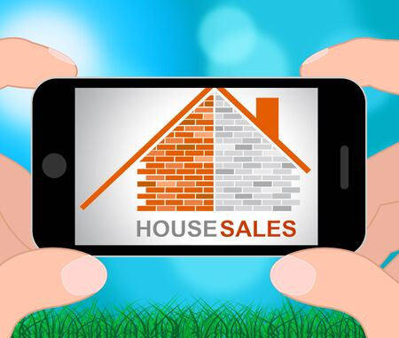 representing: House Sales Phone Representing Commerce Retail And Household 3d Illustration