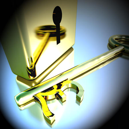Pound Key With Gold Padlock Showing Banking Savings And Finances 3d REndering