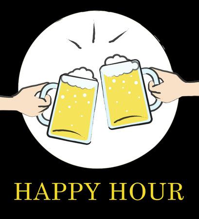 Happy Hour Pub Glasses muestra descuento bar o taberna