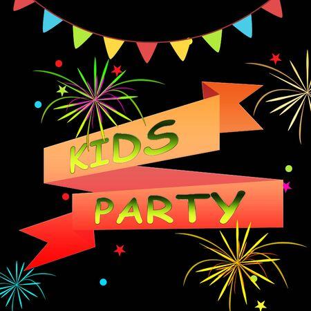 Kids Party Ribbons And Fireworks Represents Fun Child 3d Illustration 版權商用圖片
