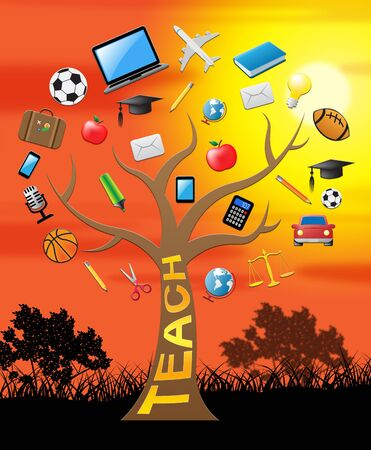 Teach Tree With Icons Means Give Lessons 3d Illustration Stock Photo