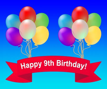 ninth: Happy Ninth Birthday Balloons Means 9th Party Celebration 3d Illustration Stock Photo