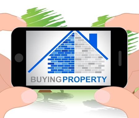 residential homes: Buying Property Phone Meaning Real Estate Property Purchases 3d Illustration