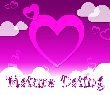 Mature Dating Hearts Represents Sweethearts Relationship And Love