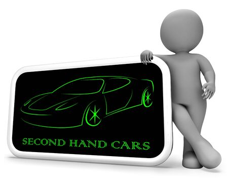 second hand: Second Hand Cars Phone Indicating Vehicles Drive And Second-Hand 3d Rendering