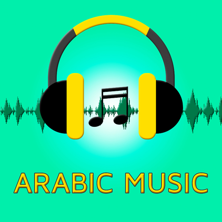 Arabic Music Headphones Sound Shows Middle East 3d Illustration Stock Photo
