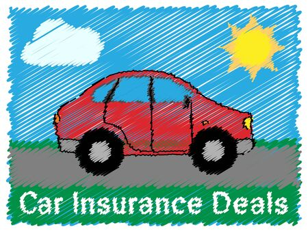 insure: Car Insurance Deals Road Sketch Means Car Policy 3d Illustration Stock Photo