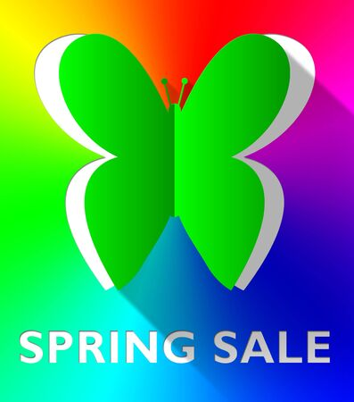 Spring Sale Butterfly Cutout Shows Bargain Offers 3d Illustration