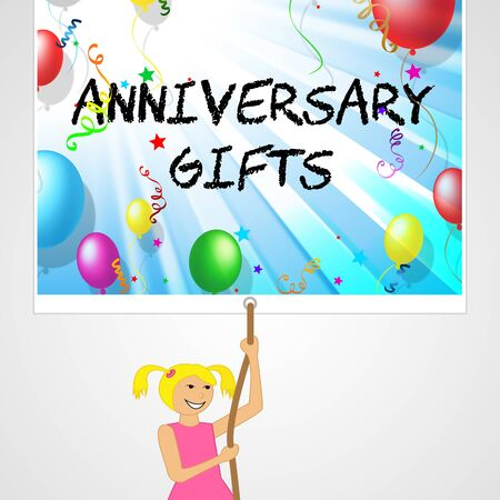 Anniversary Gifts sign Meaning Box Romantic And Marriage 3d Illustration