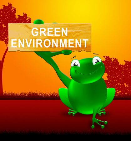wildlife conservation: Frog With Green Environment Sign Shows Ecology 3d Illustration