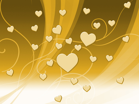 Elegant Brown Hearts Background Meaning Delicate Passion Or Fine Wedding Stock Photo