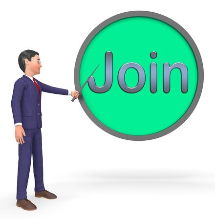 Join Button Sign Shows Registration Membership 3d Rendering Stock Photo