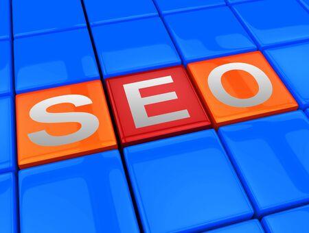 Seo Blocks Meaning Search Engine Optimization 3d Illustration