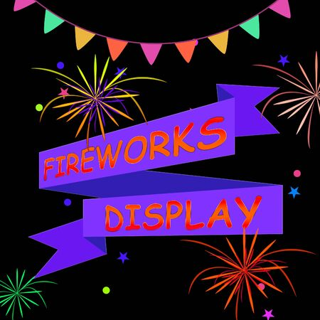 Fireworks Display Ribbons And Fireworks Shows Firework Party 3d Illustration