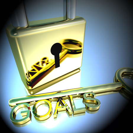 Padlock With Goals Key Showing Objectives Hopes And Future 3d Rendering