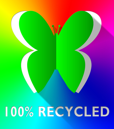 Hundred Percent Recycled Butterfly Cutout Green 3d Illustration