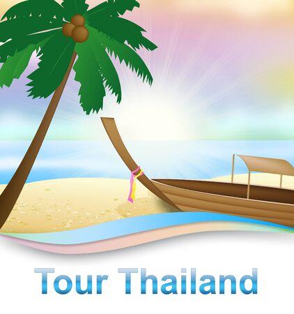 hot tour: Tour Thailand Boat On Beach Shows Thai Travelling 3d Illustration