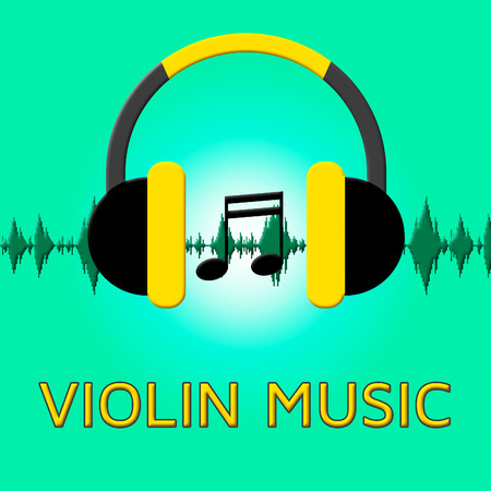 fiddles: Violin Music Headphones Sound Shows Sound Tracks 3d Illustration