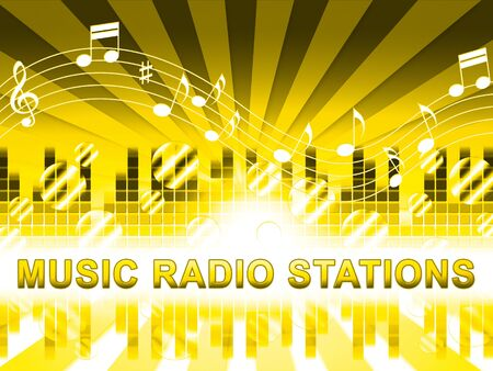 soundtrack: Music Radio Stations Design Shows Song Broadcasting Channels Stock Photo