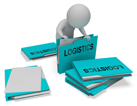 coordinating: Logistics Character And Folders Shows Correspondence Folder 3d Rendering Stock Photo