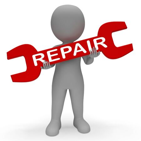 Repair Character with Spanner Shows Repair Fixing 3d Rendering