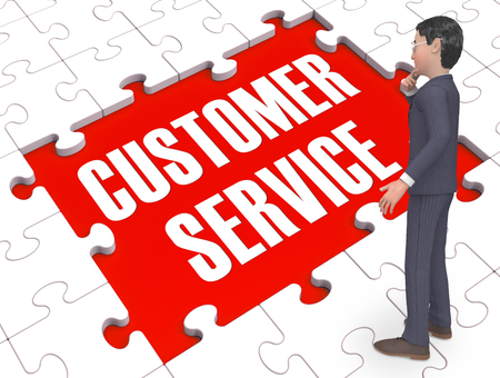 Customer Service Puzzle Showing Support And Help 3d Rendering
