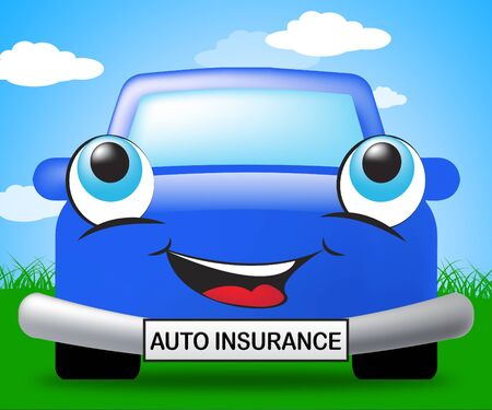 insure: Auto Insurance Smiling Vehicle Sign Represents Car Policy 3d Illustration