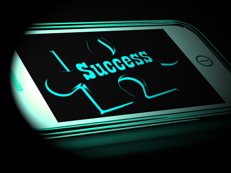 Success On Smartphone Shows Progression And Improvement 3d Rendering Stock Photo