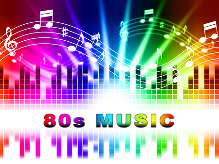 eighties: Eighties Music notes Design Showing Acoustic Songs And Soundtrack