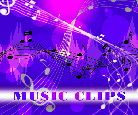 soundtrack: Music Clips Floating Notes Means Soundtrack Or Song Samples