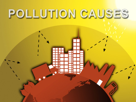 Pollution Causes Around City Means Air Contamination 3d Illustration
