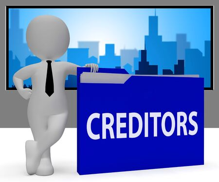 Creditors Folder Character Meaning Borrow Lending 3d Rendering
