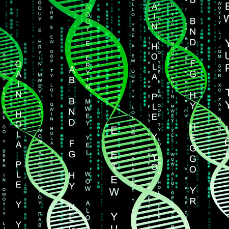 means: Dna Helix Means Genetic Chromosome 3d Illustration Stock Photo