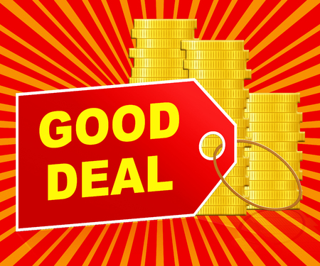 buen trato: Good Deal Label And Coins Represents Best Price 3d Illustration