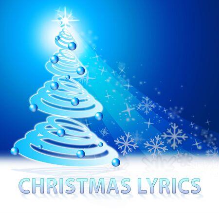 letras musicales: Christmas Lyrics Snow Scene Shows Music Words 3d Illustration