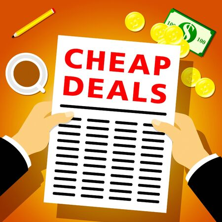 closeout: Cheap Deals Newsletter Indicates Promotional Closeout 3d Illustration Stock Photo