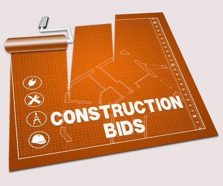 Bau Angebote Paint Roller Zeigt Gebäude Zitat 3D-Illustration