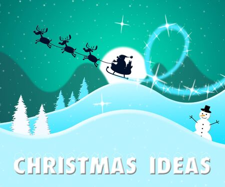 Christmas Ideas Santa Scene Shows Xmas Suggestions 3d Illustration Stock Photo
